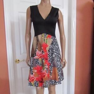 CLOVER CANYON Diverging Dots Fit-Flare Dress Sz L